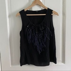 Talbots Silk Feather Tank Black Sequins Size 8